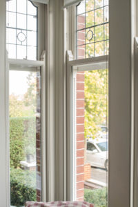thin corner windows with pattern