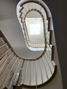 Spiral staircase with handrail