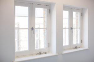 modern white wooden windows inside
