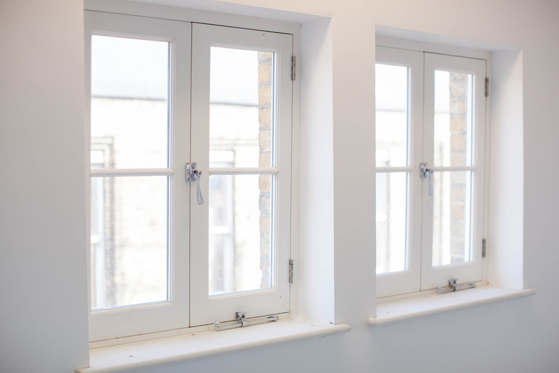 modern white wooden windows inside