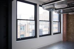 black office sash windows
