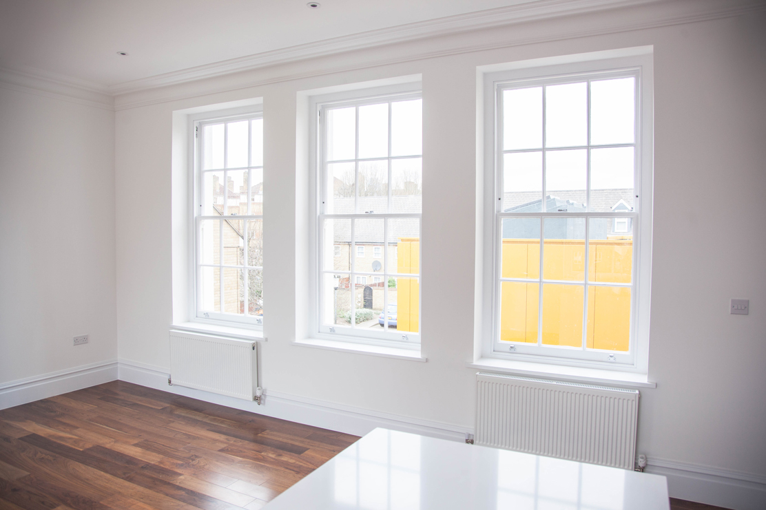 white sash windows from inside