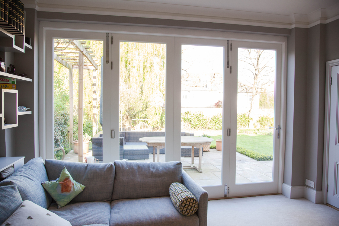 french doors from living room, modern garden