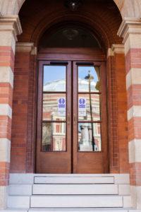 wooden doors to public building