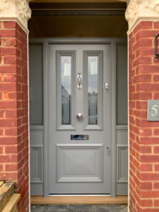 grey door with side windows