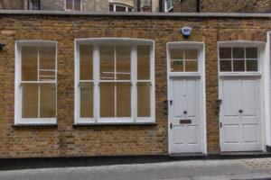 Front Door and Sash Windows, Brick Street, Central London