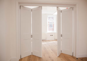 white bifold doors