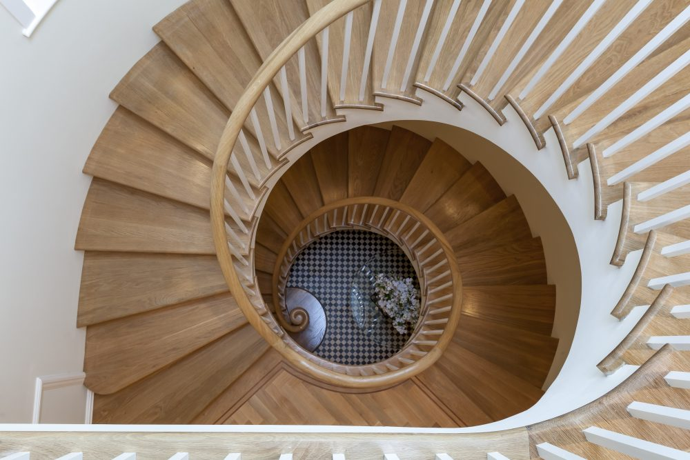 Wood spiral staircase, London