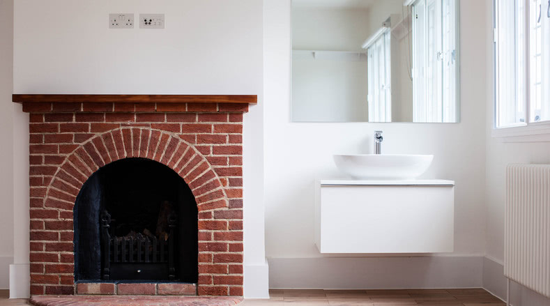 Fireplace and sink