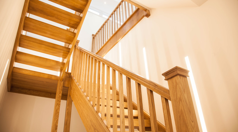 Wood staircase and handrail - Dulwich, London