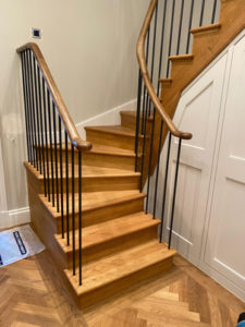 tight space wooden staircase, 3 stories