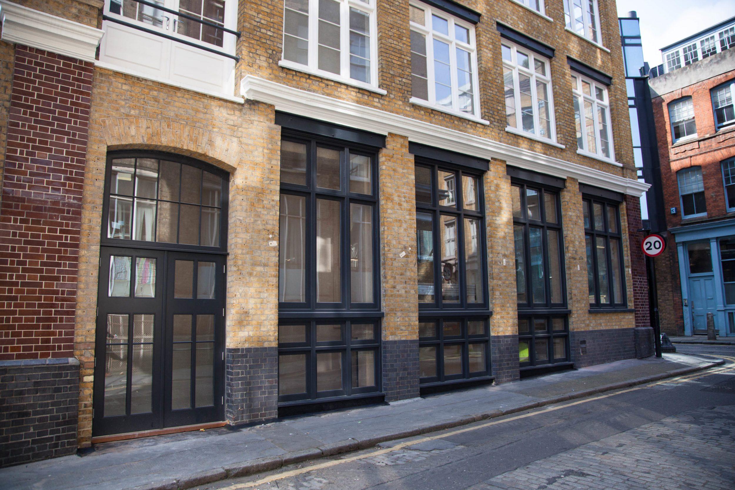 black office front windows and door