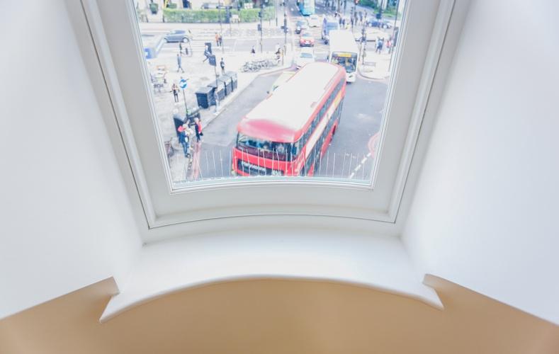 London Double Decker Bus through Box Sash Windows - Great Portland Street - K&D Joinery