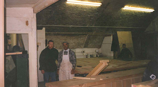 joiners in workshop constructing the old bailey court entrance gate, 1990s