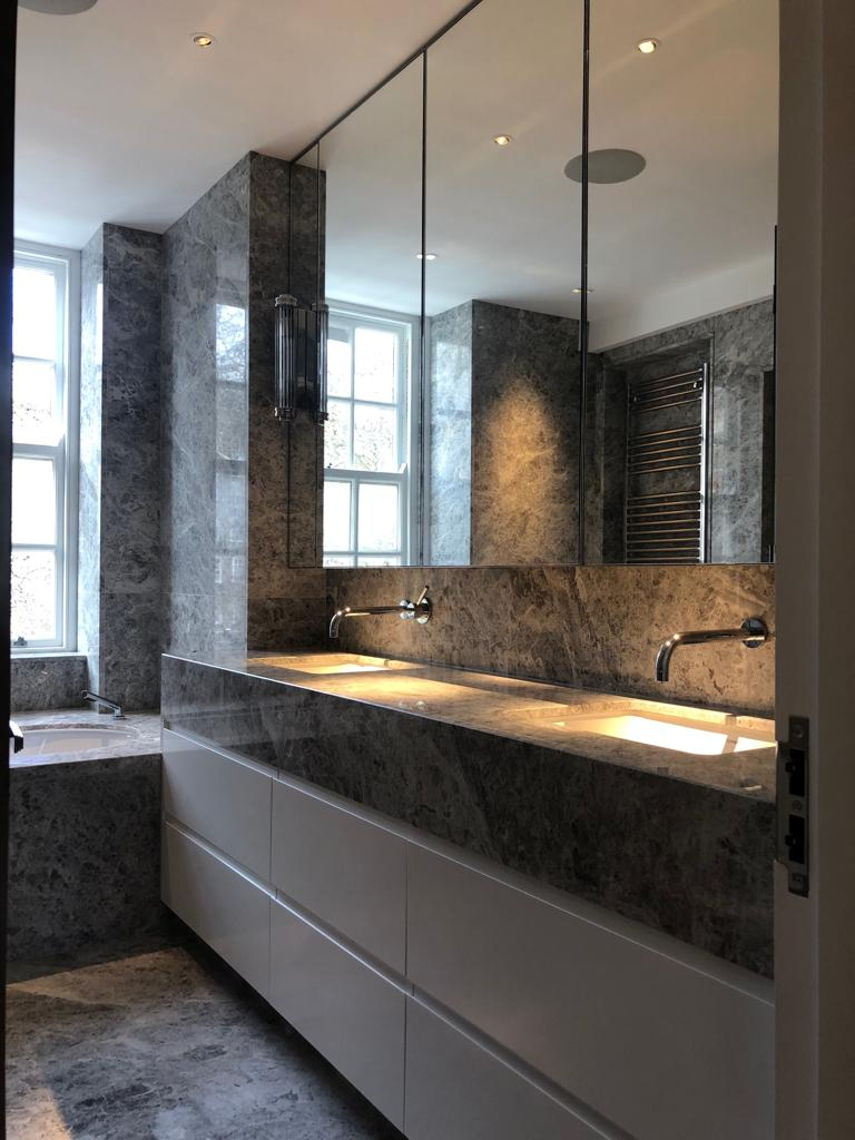 Belgravia grey marble kitchen cabinetry