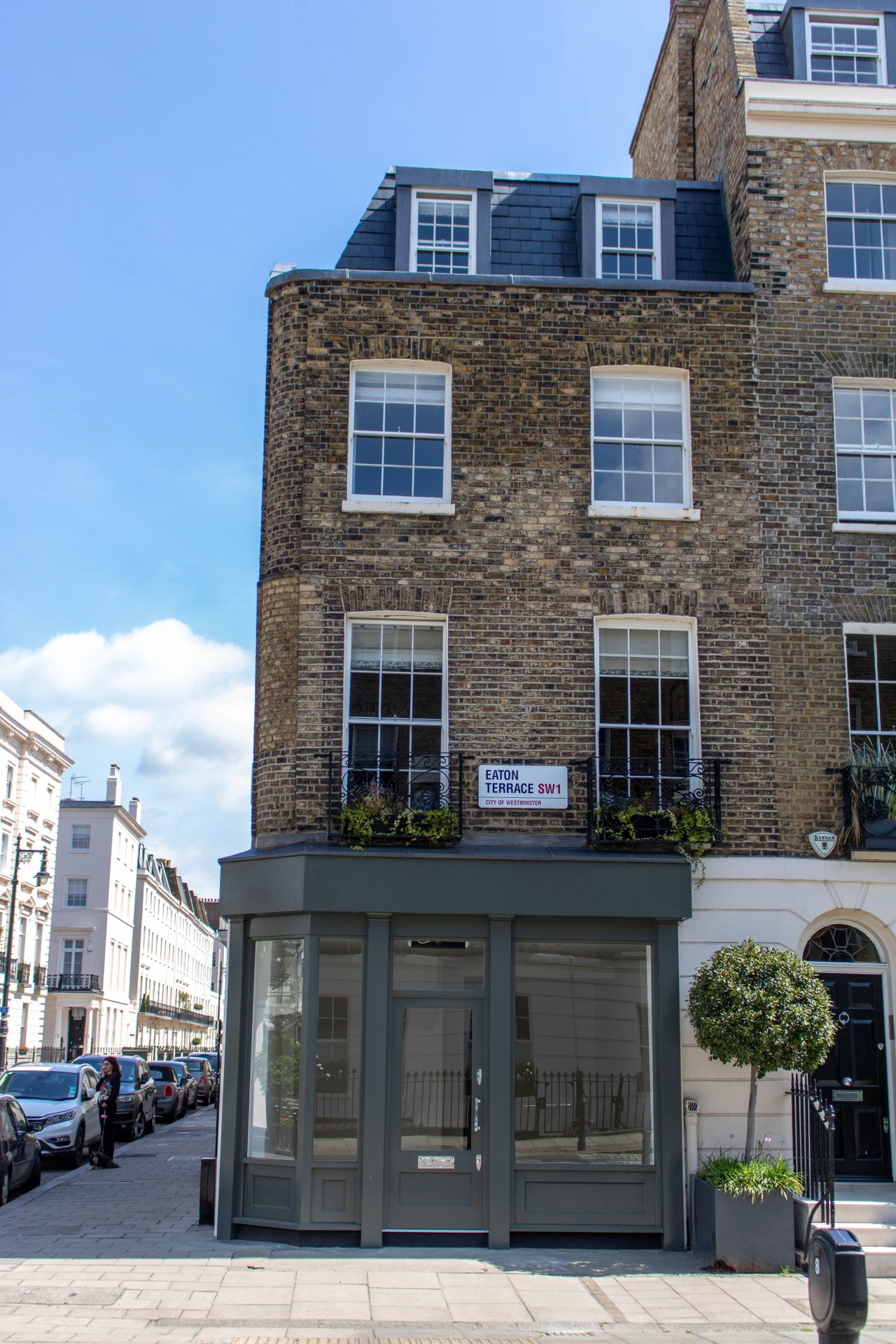 Shopfront, door and sash window, Eaton Terrace, London