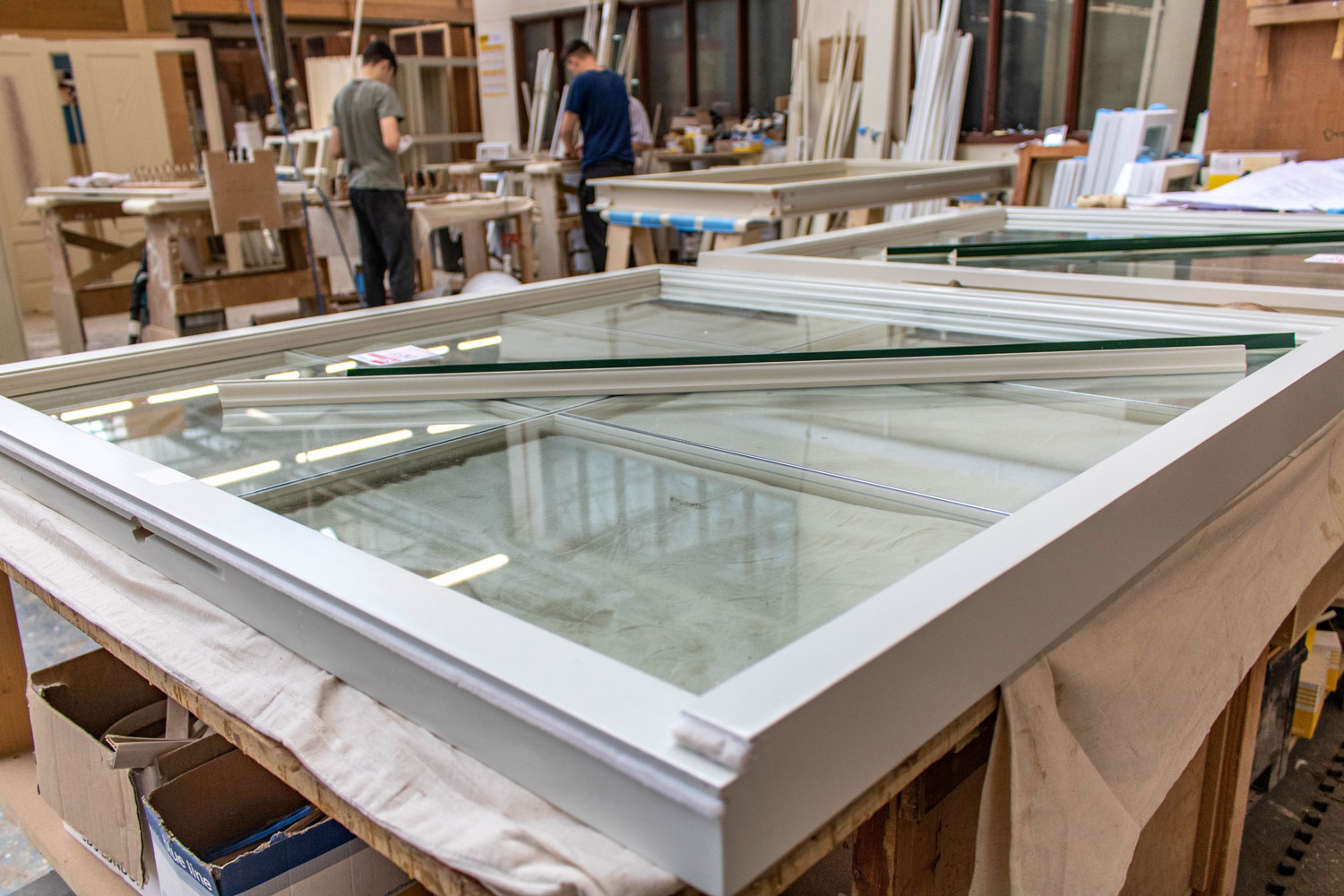 large window in joinery workshop