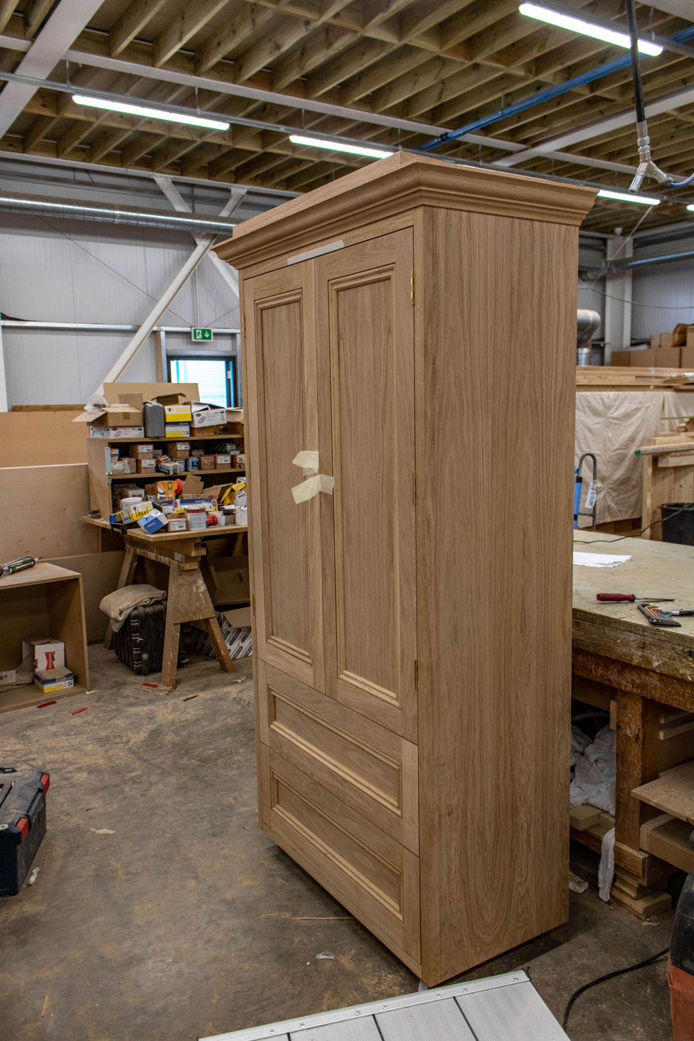 classic wood cabinet in joinery workshop