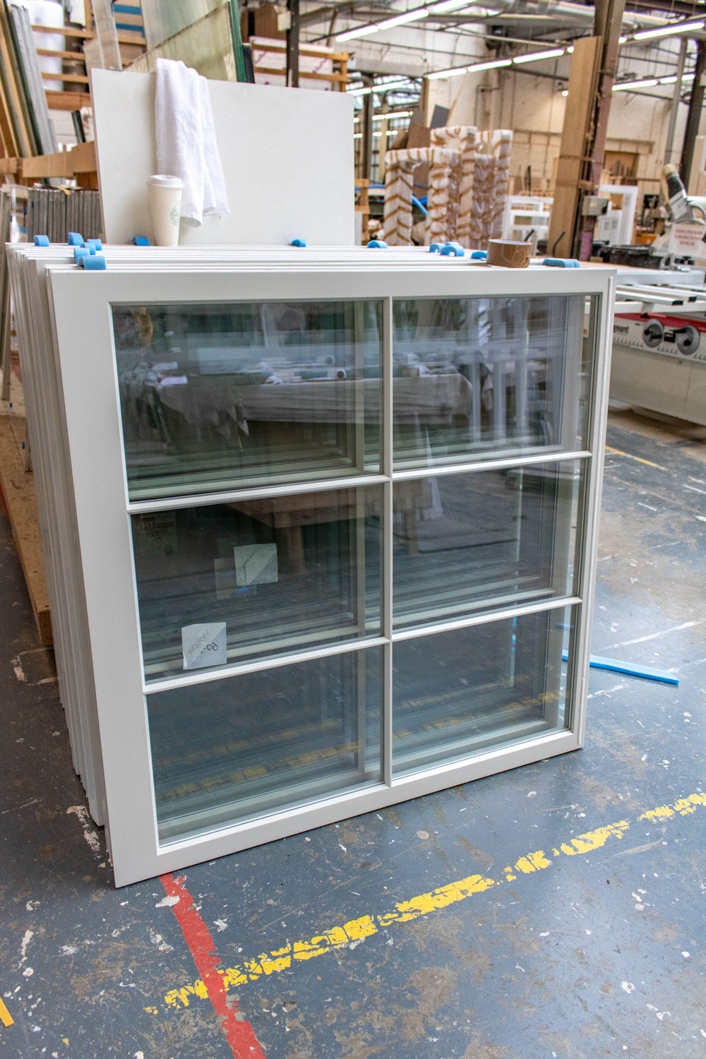 6 panel window unit in joinery workshop