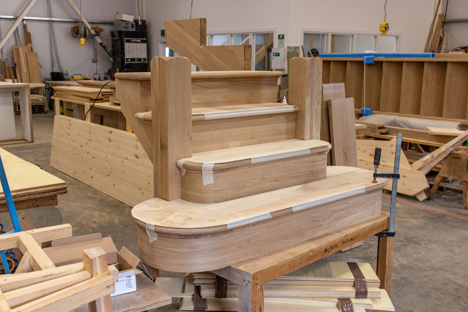 small wooden staircase in joinery workshop
