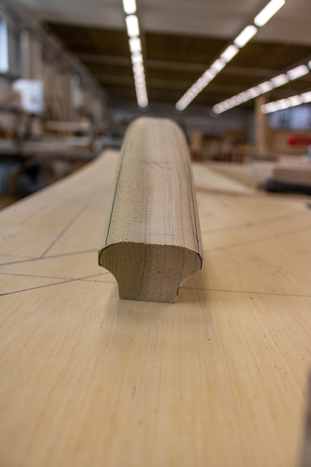 Curved cut of wood in joinery workshop