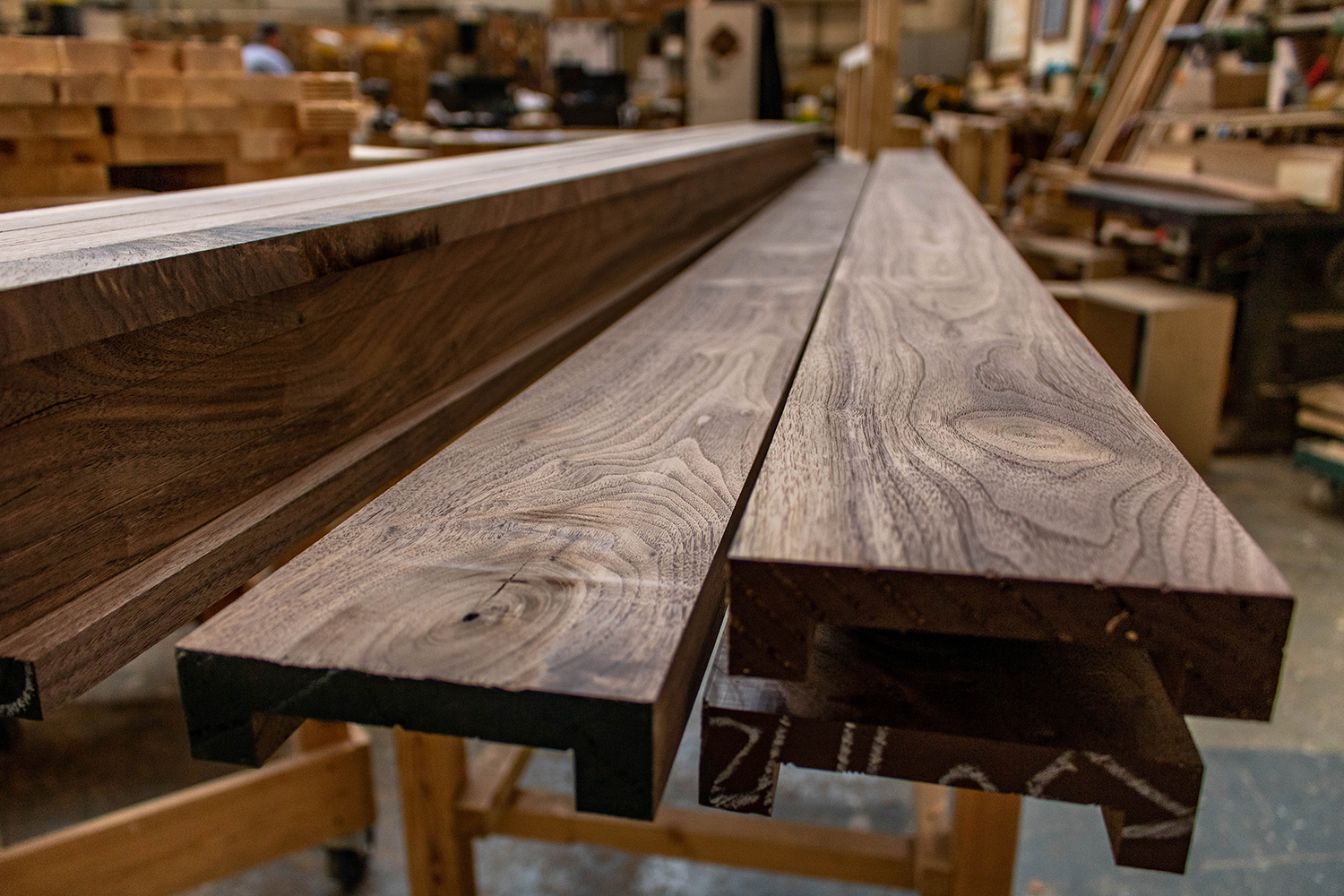 3 planks of wood in joinery workshop