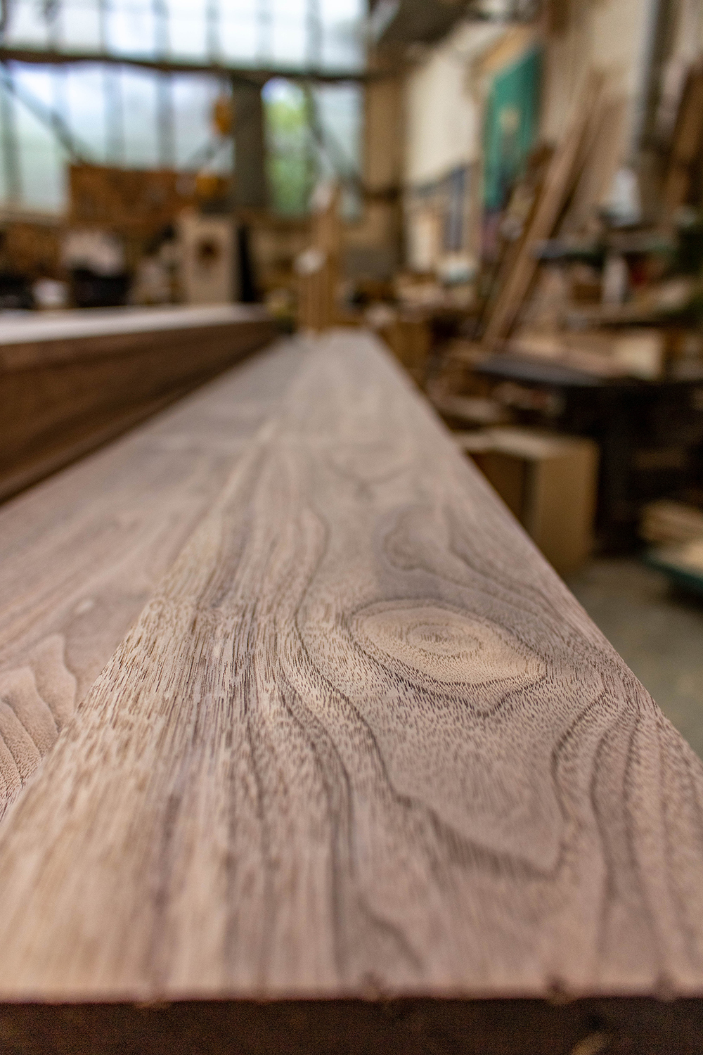 Plank of wood in joinery workshop