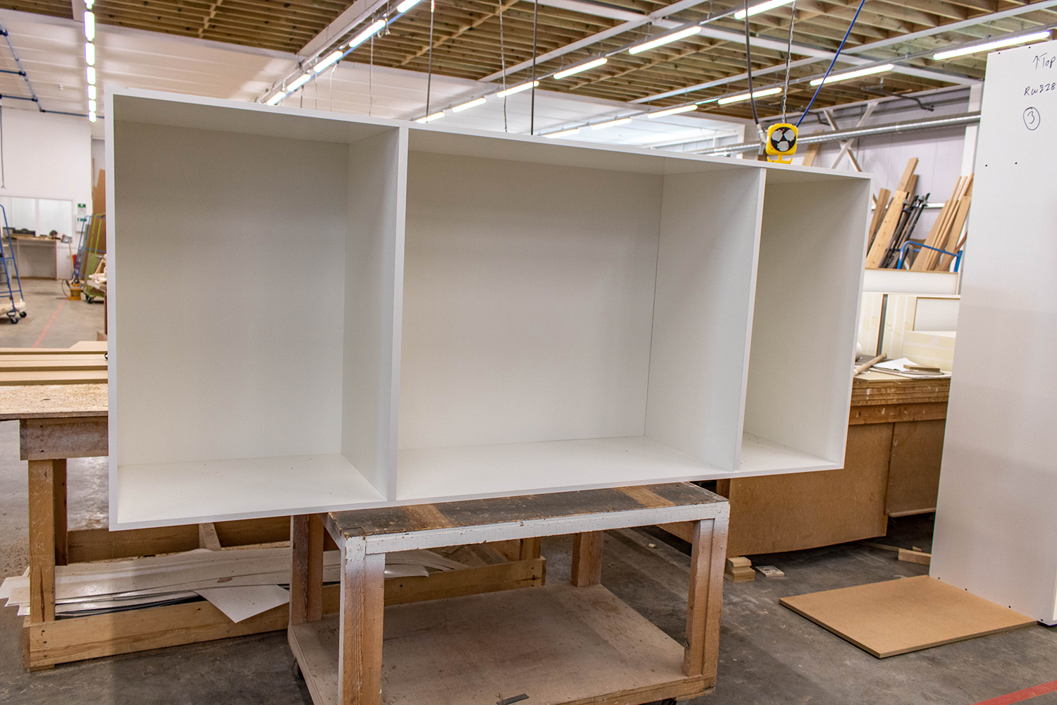 Large white 3 section storage cabinet