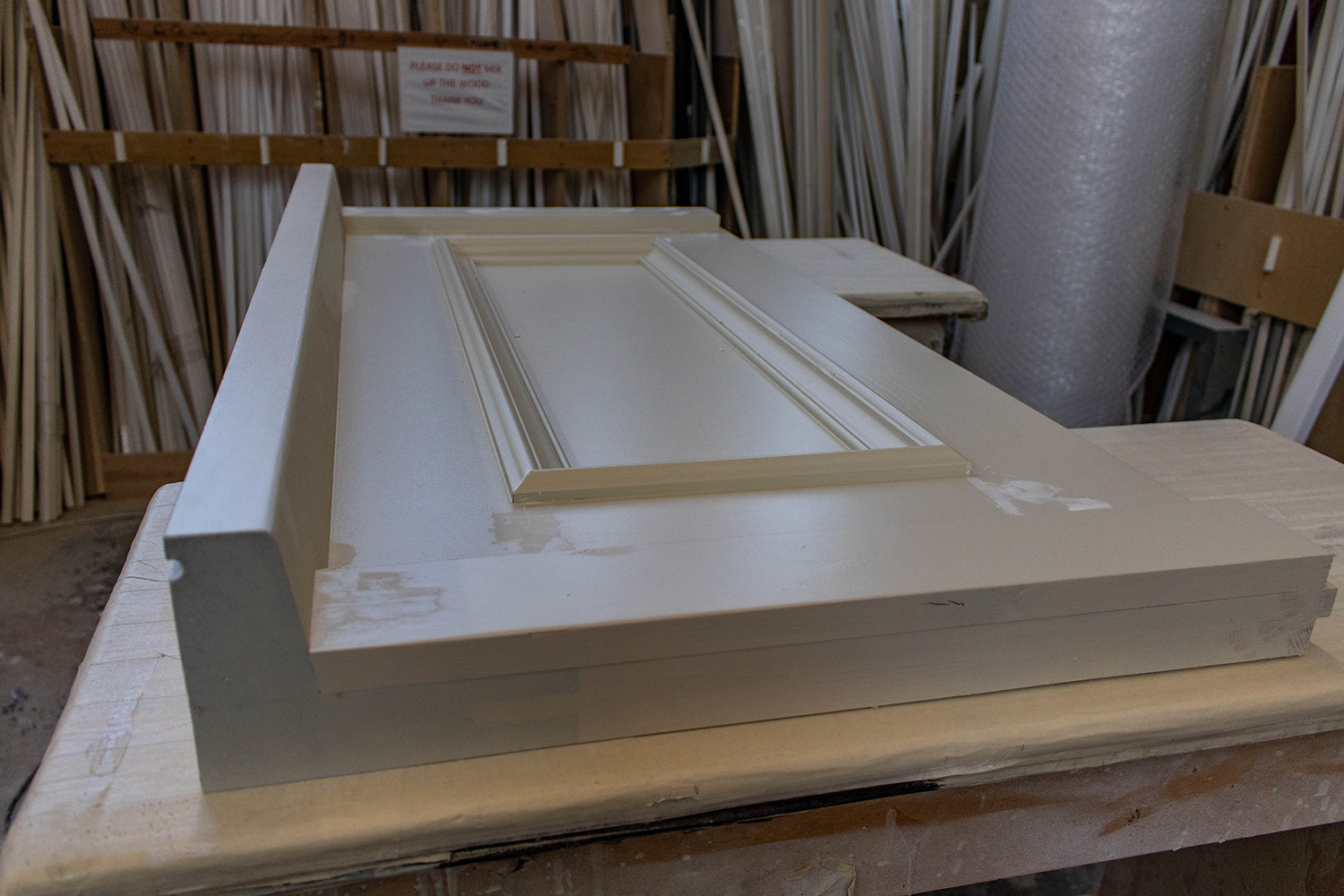 White door joinery section in workshop