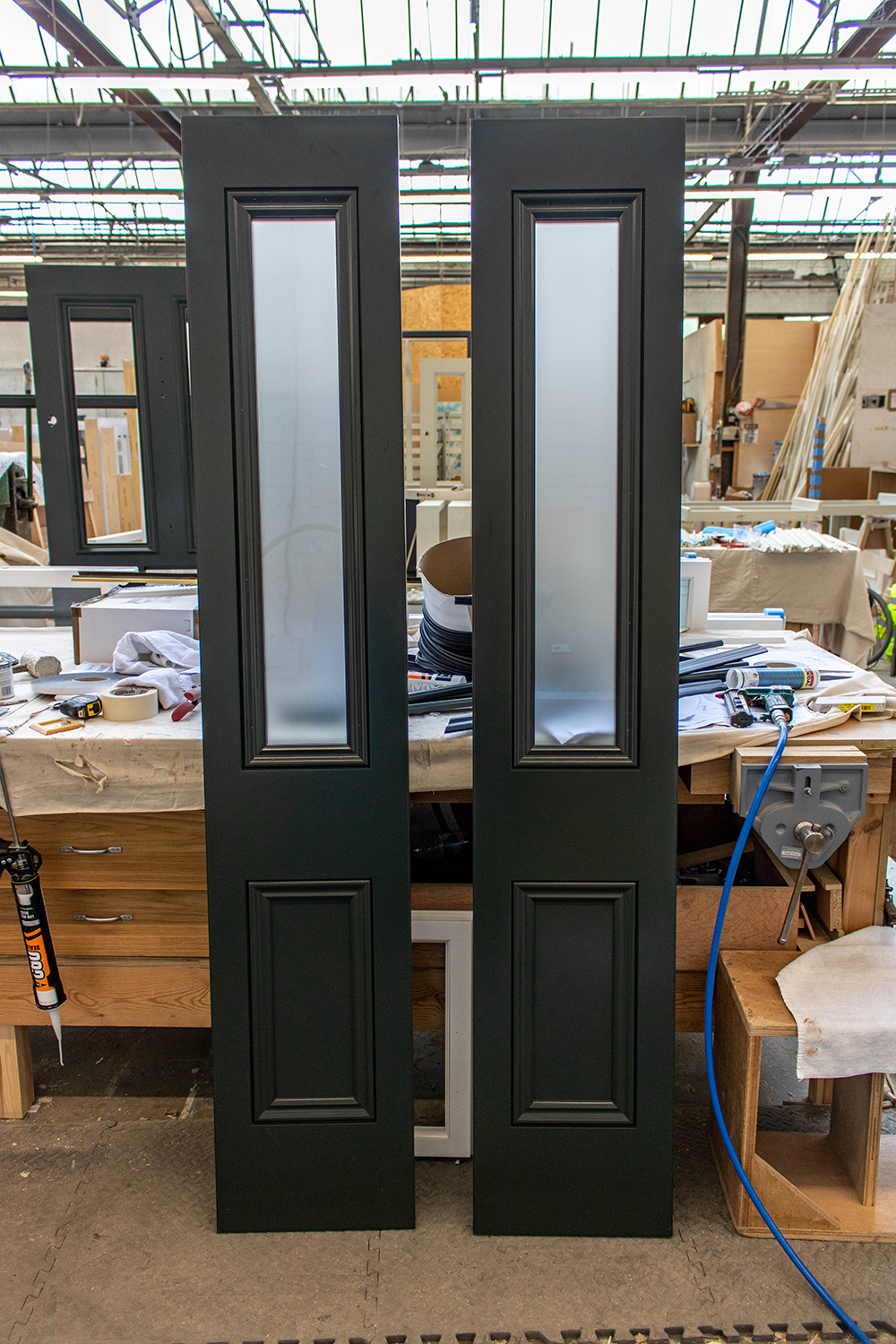 black door side-panels with frosted glass