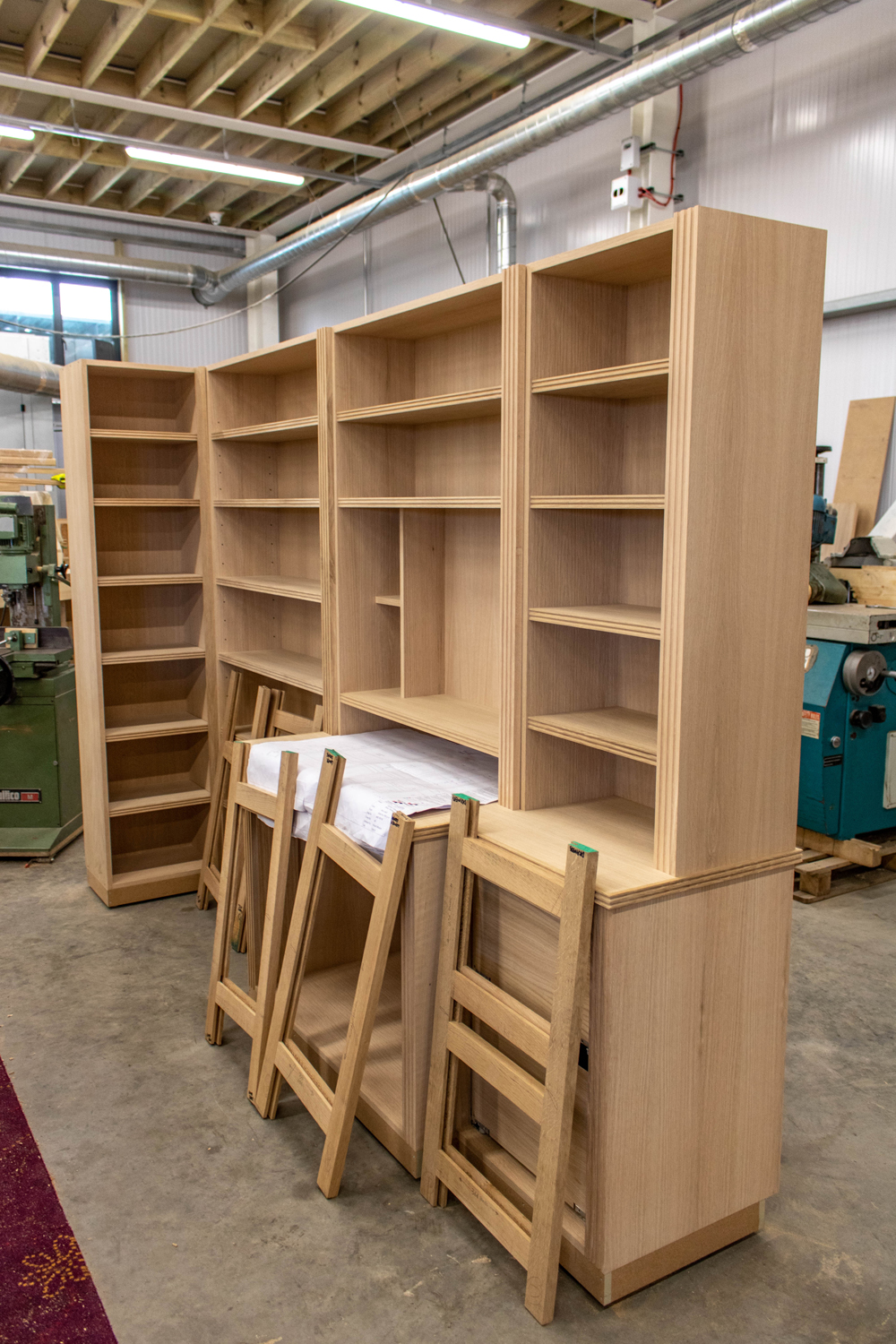 woode shelves and cabinetry in k&d joinery workshop