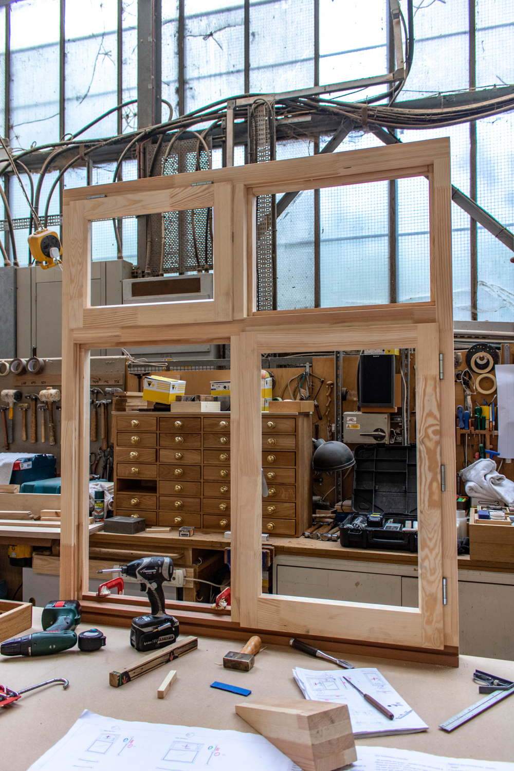 wood window frames being constructed in joinery workshop