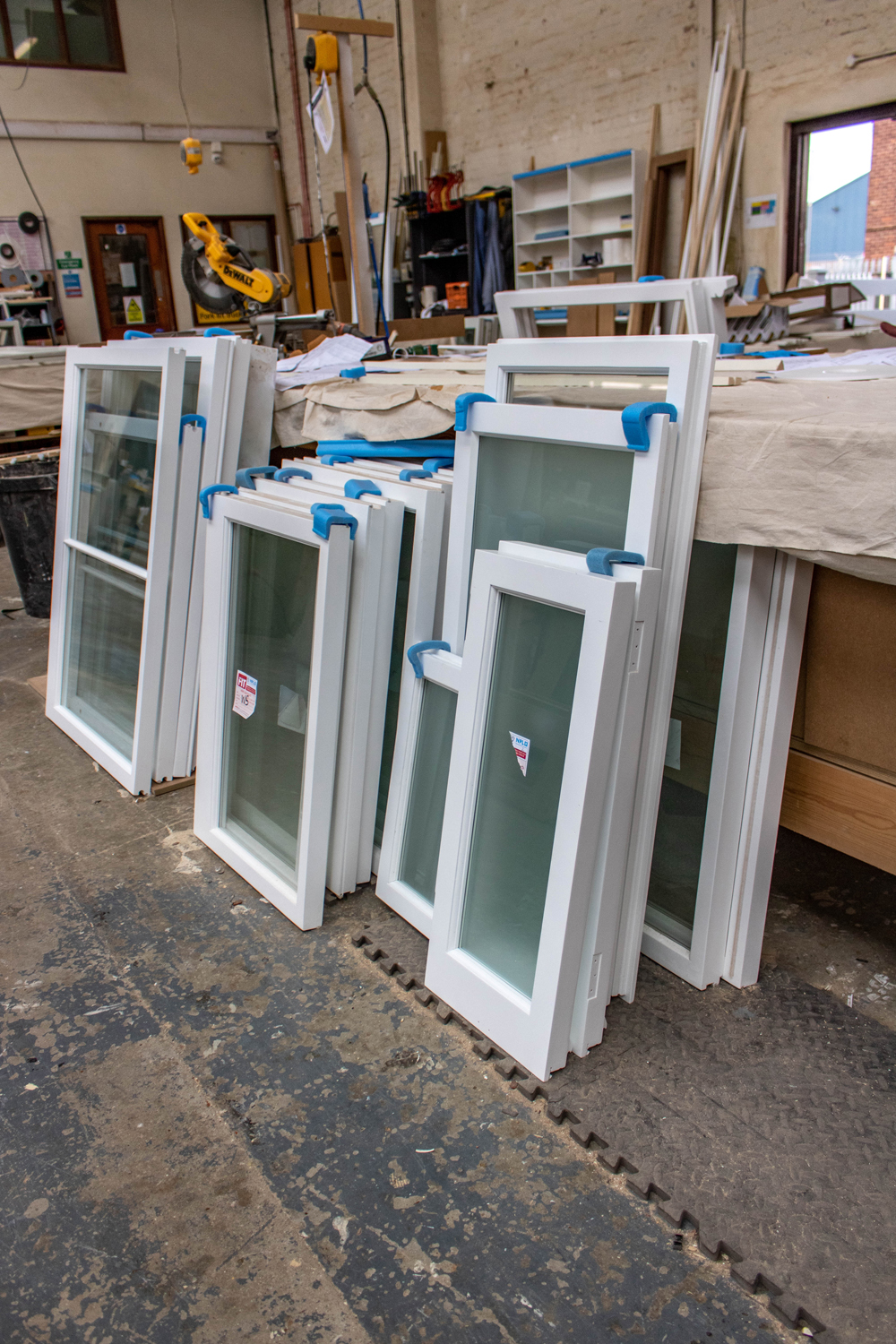 stacks of glass, pvc framed windows