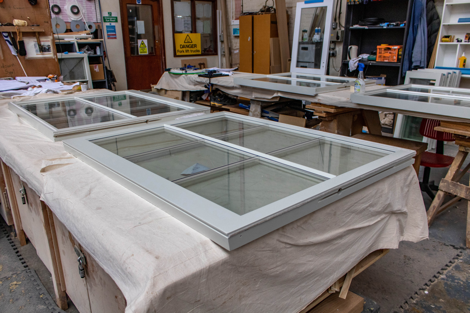 6 panel window unit being built with white paint job