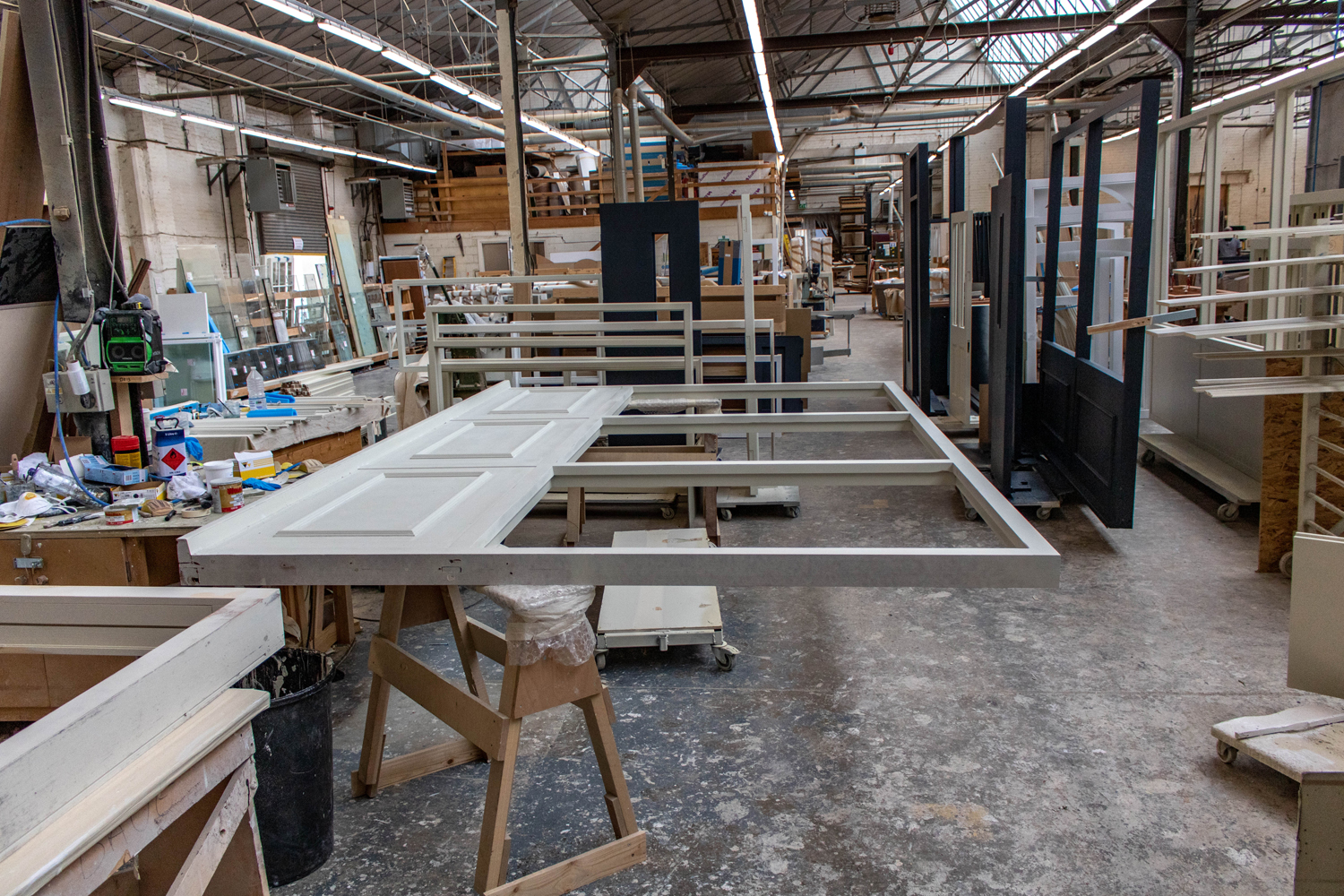 large window frames being constructed in k&d's joinery workshop