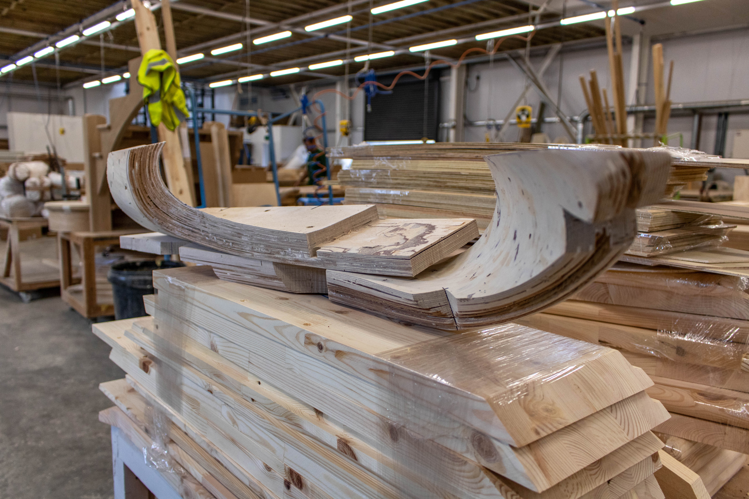 bespoke curved wood in joinery workshop