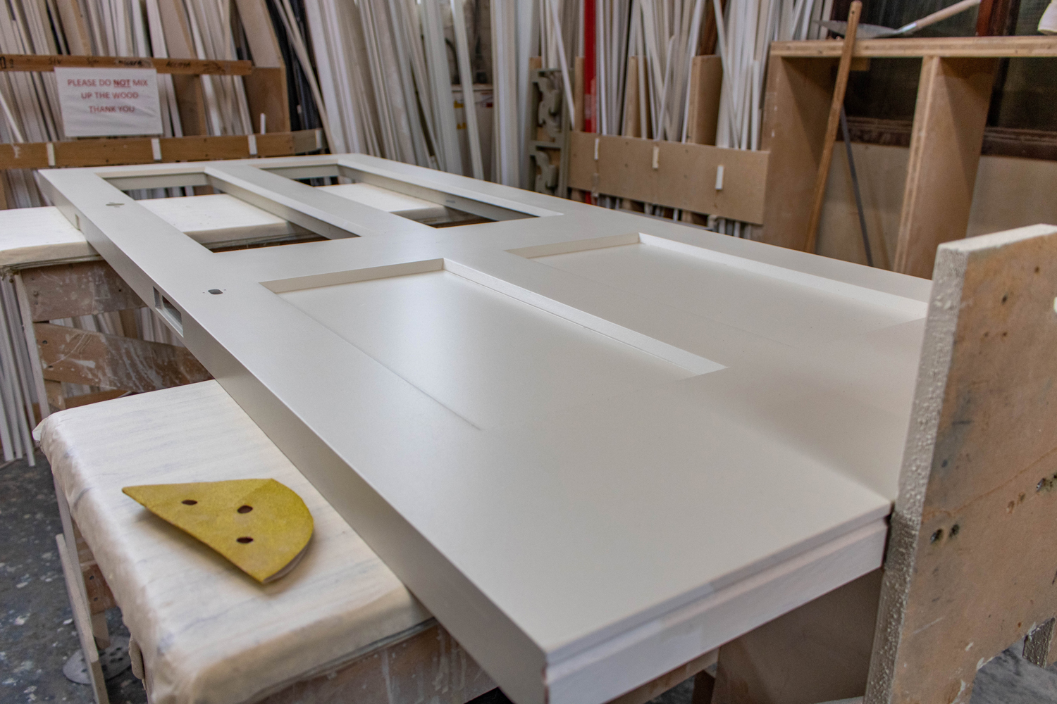 white door being constructed in joinery workshop
