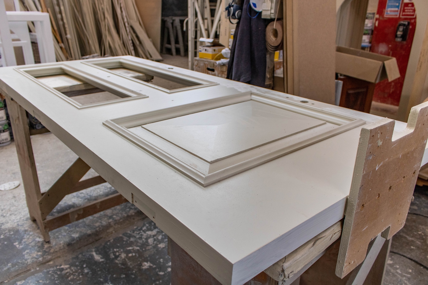 white door in joinery workshop