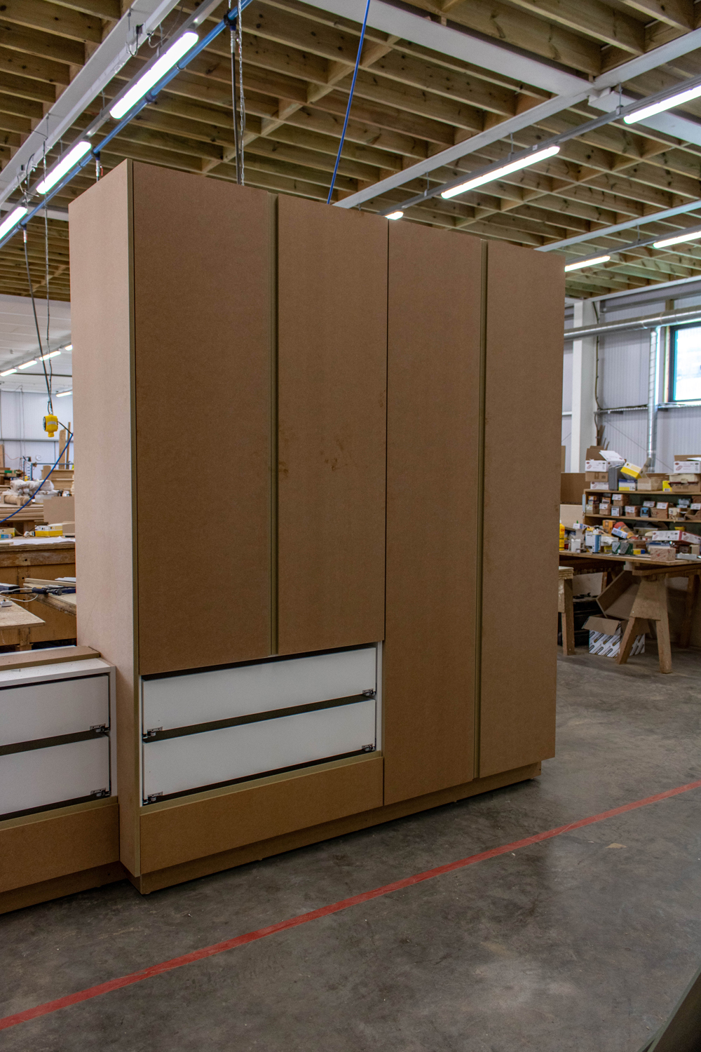 wood wardrobe with doors in workshop