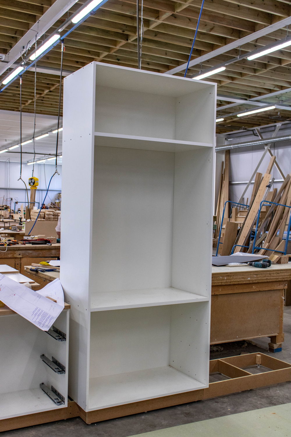 white wardrobe shelf unit in k&d joinery workshop