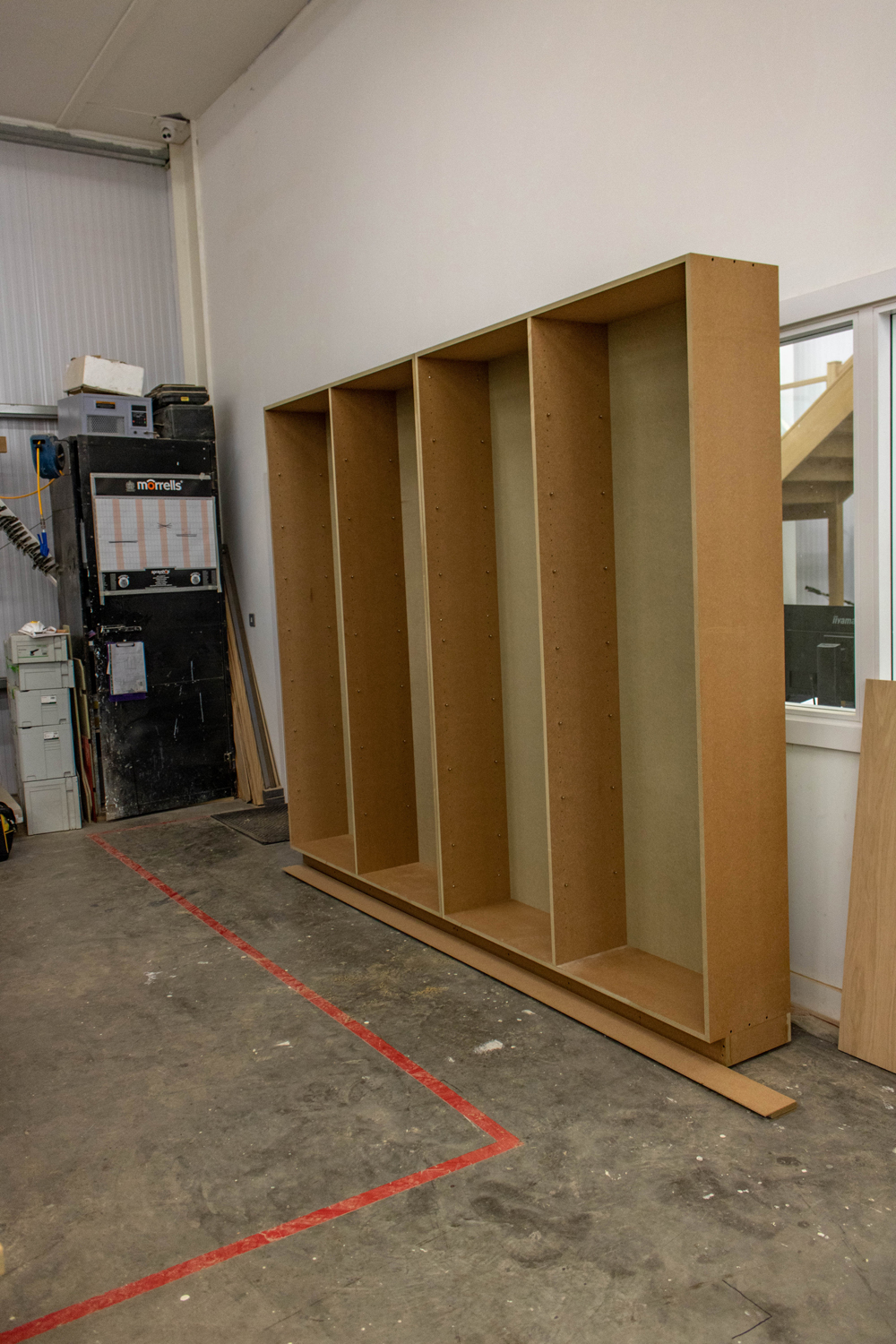 large shelf unit in k&d joinery workshop