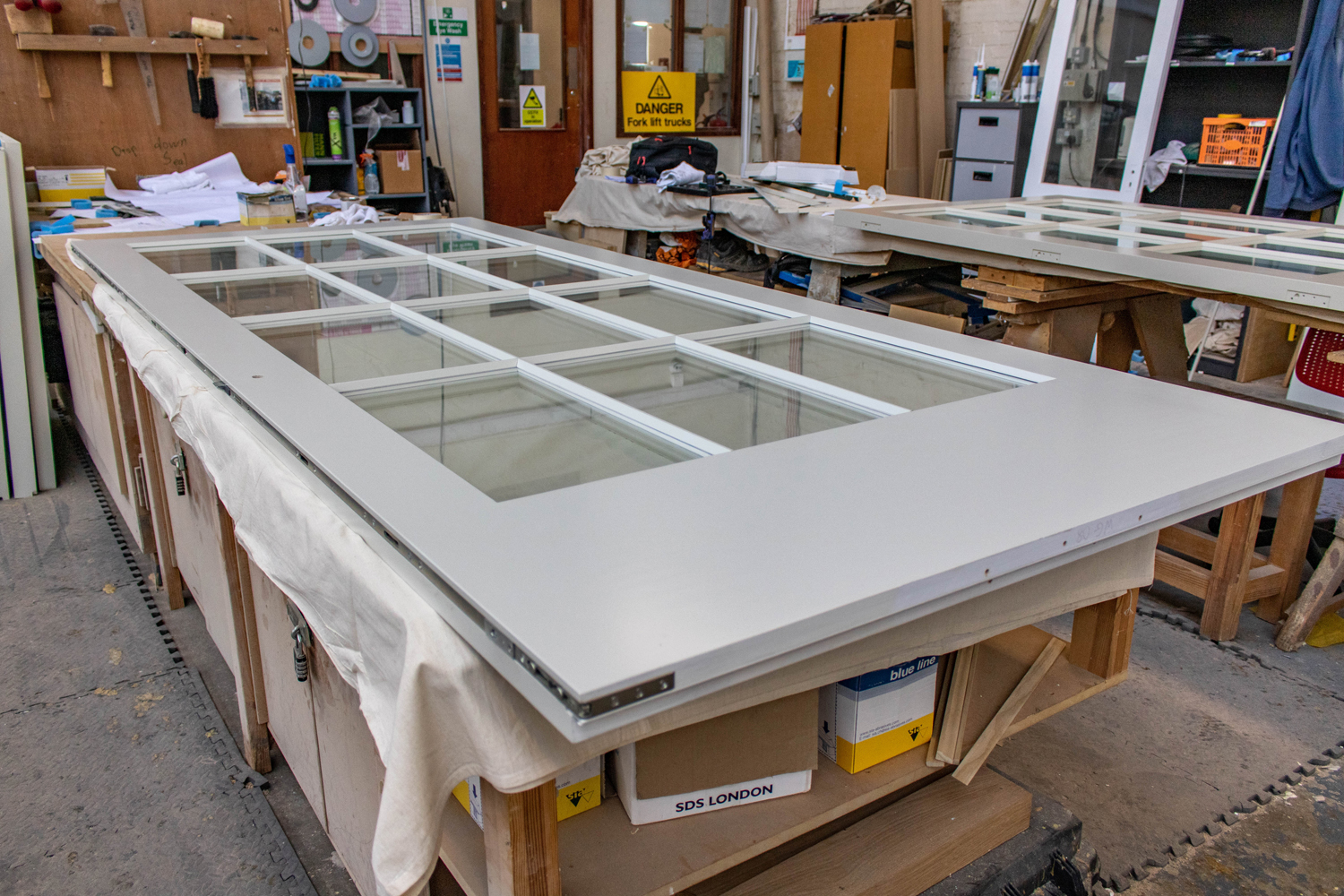 12 panelled glass door in k&d joinery workshop london