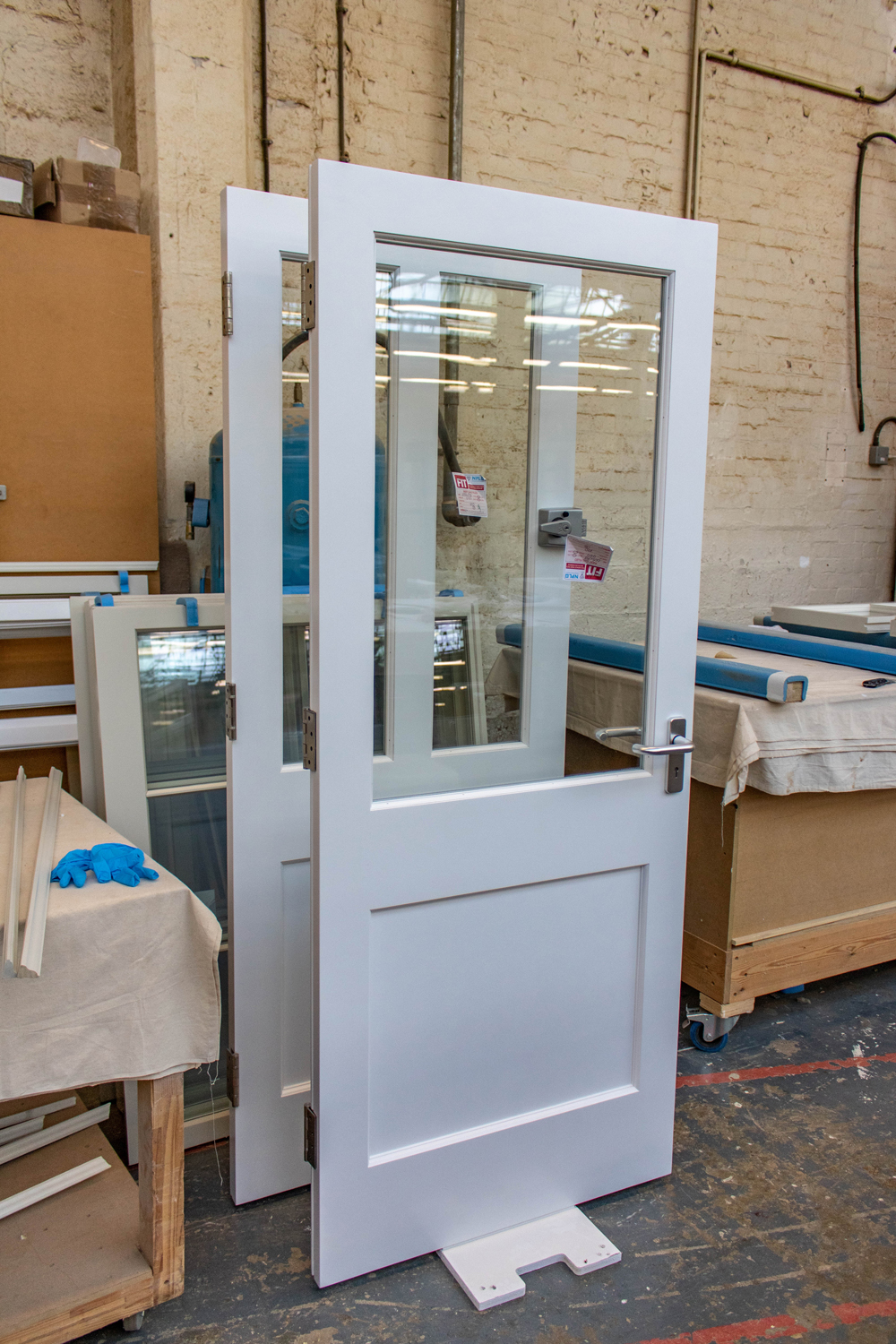 glass panelled doors in k&d joinery workshop london