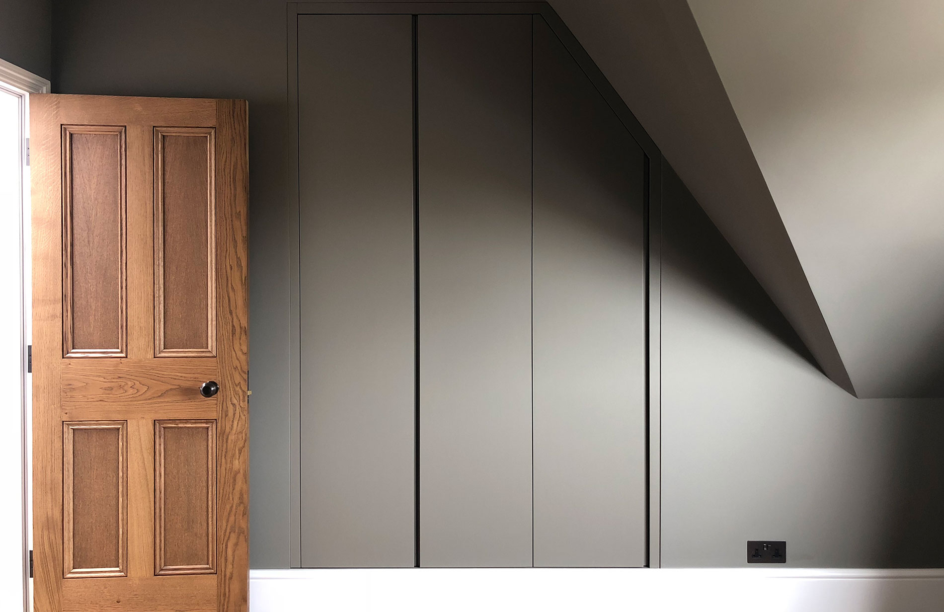 hidden minimal nested wardrobe grey